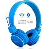 wireless/wired Foldable Stereo over-Ear headsets with music share port and Built-in Microphone for calling, children Bluetooth Earphones for smartphones PC music gaming. Blue