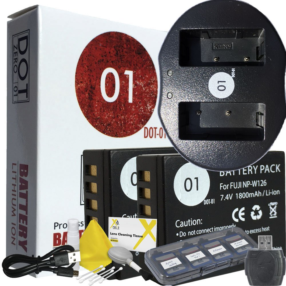 DOT-01 2x Brand Fujifilm X-A5 Batteries and Charger for Fujifilm X-A5 Mirrorless and Fujifilm X-A5 Battery and Charger Bundle for Fujifilm NPW126 NP-W126