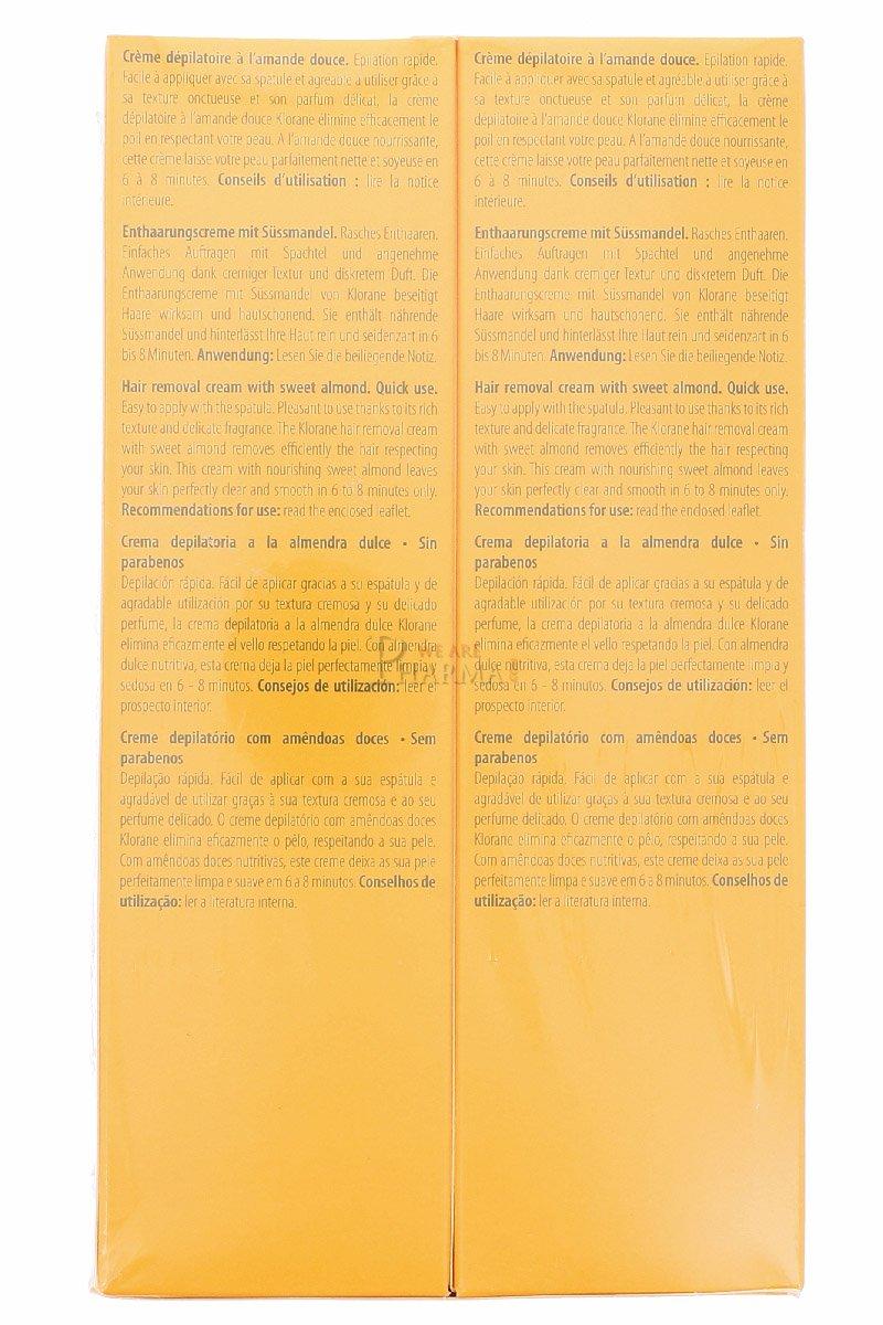 Klorane Crème dépilatoire à lAmande Douce 2x150ml: Amazon.es: Salud y cuidado personal