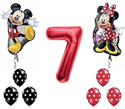 Amazon.com: Red Number 7 Mickey and Minnie Mouse Full Body ...