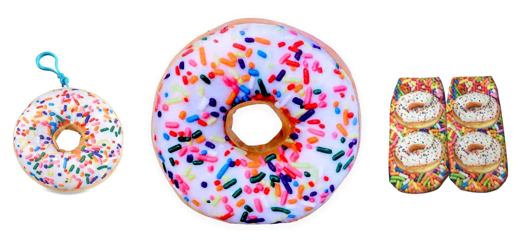 High Values 16 Inch White Sprinkle Donut Pillow Cushion with Donut Clip On and Ankle Socks Gift Set - Vanilla by High Values