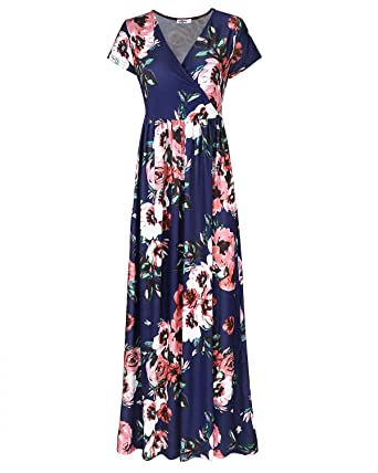 STYLEWORD Women s Summer V Neck Floral Maxi Long Dress at Amazon ... 71ad248f7