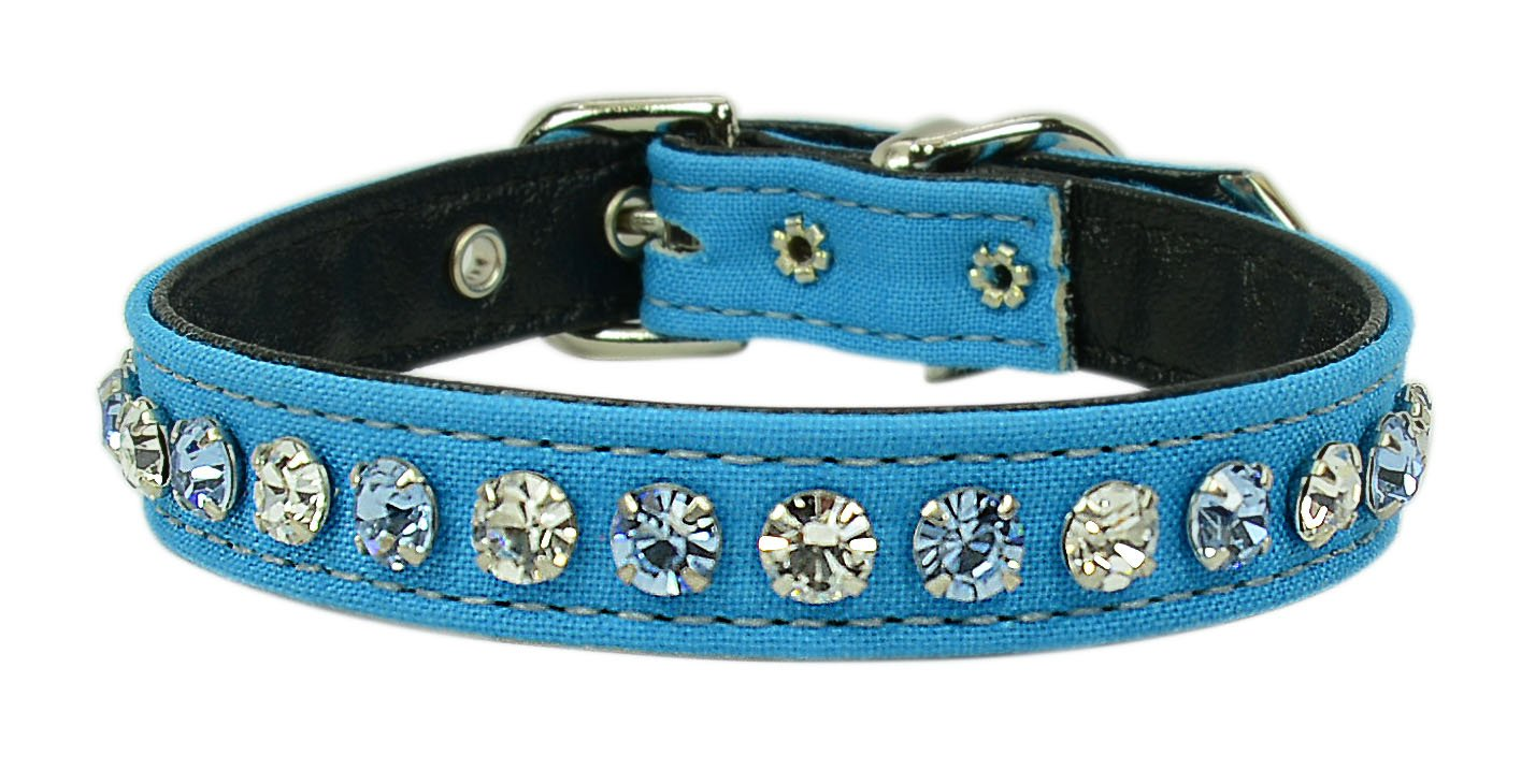 Bright bluee Size 10 Bright bluee Size 10 Evans Collars 1 2  Collar with Alternating Jewel colors, Size 10, Solid Cotton, Bright bluee