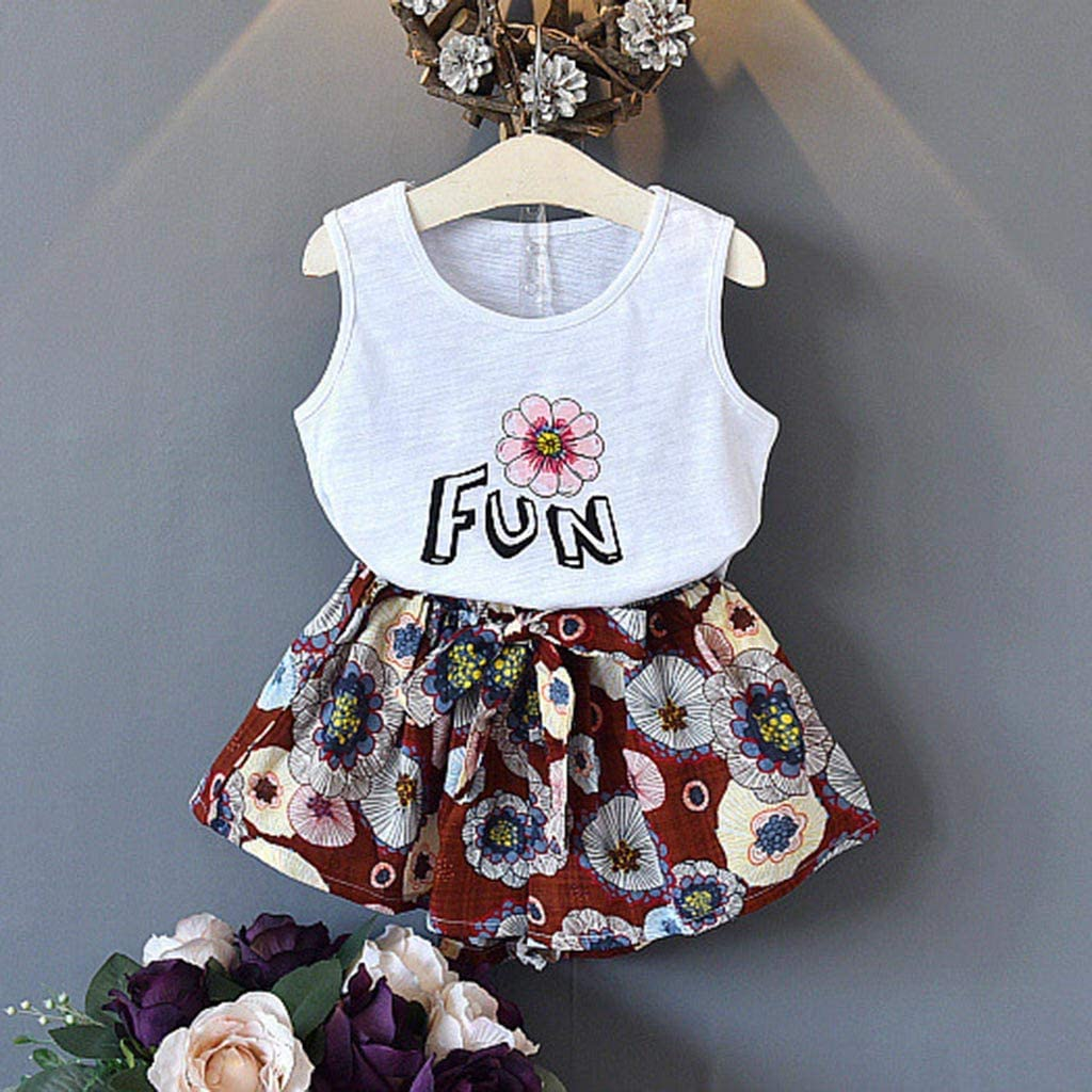 2019 New Child Kid Baby Girl Outfits Clothes Letter Vest T-Shirt Tops+Floral Shorts Set
