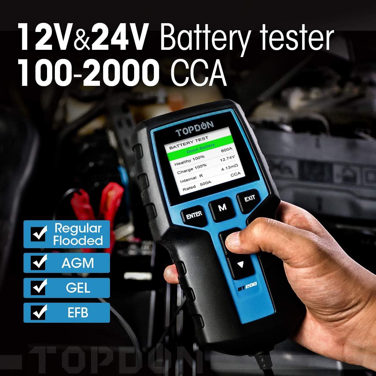 BT200 100-2000CCA Automotive Alternator Tester Digital Auto Battery Analyzer Charging Cranking System Tester for Car Truck Motorcycle ATV SUV Boat Yacht Topdon Car Battery Tester 12V 24V Load Tester