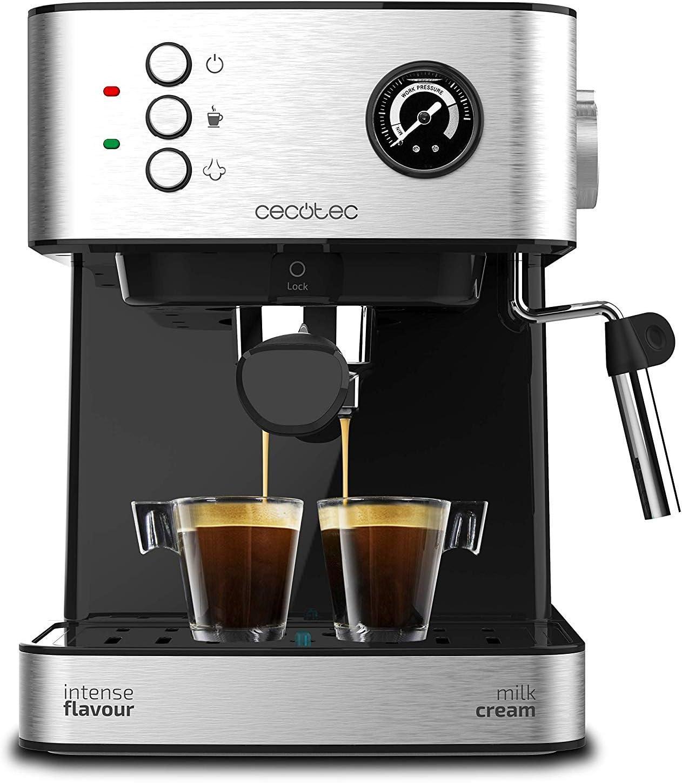 Cecotec Power Espresso 20 Professionale Cafetera. 20 Bares, Manómetro, Depósito de 1,5L, Brazo Doble Salida, Vaporizador, Superficie Calientatazas, Acabados en Acero Inoxidable, 850W: Amazon.es: Hogar