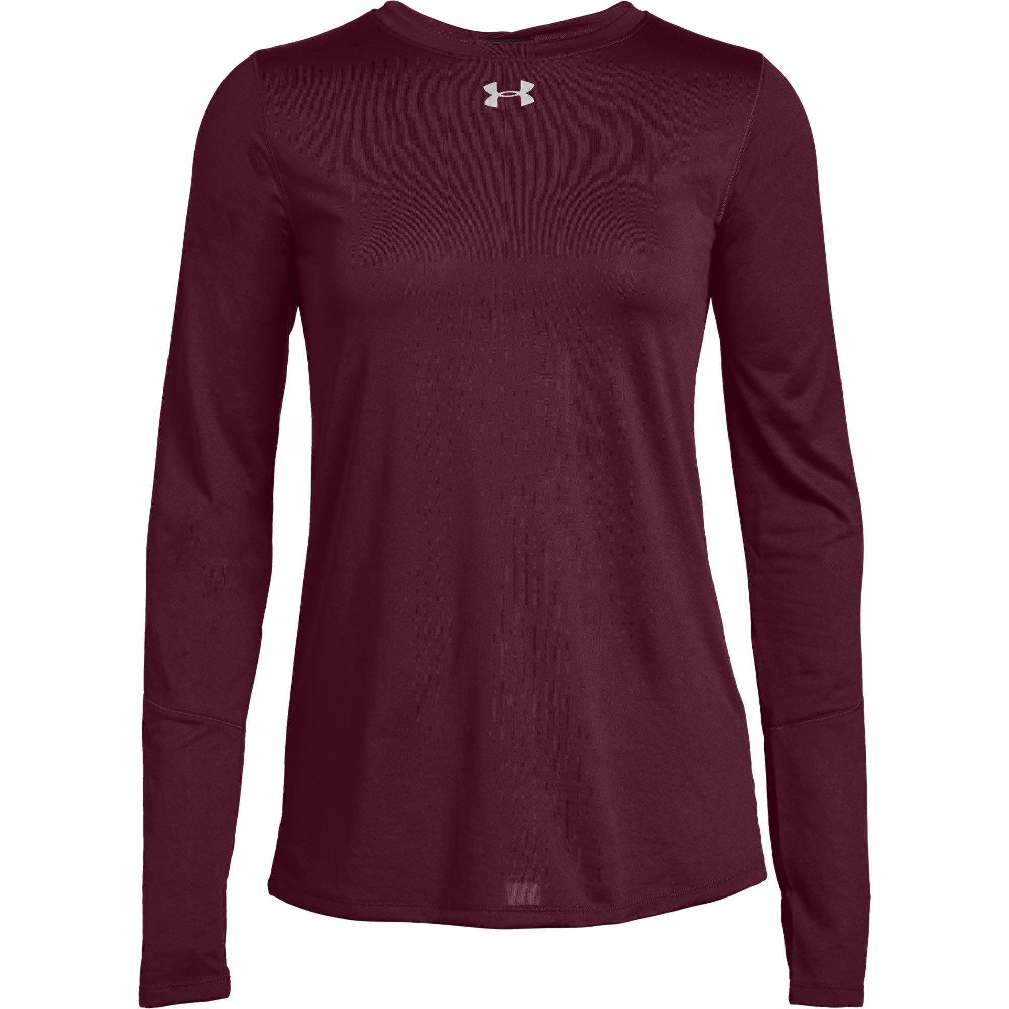 Under Armour Women's UA Long Sleeve Locker T-Shirt (X-Small, Maroon)