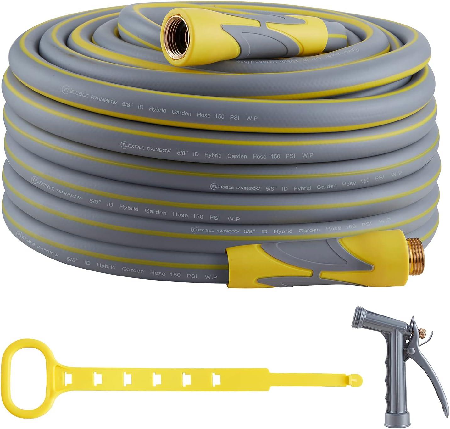 Garden Hose, Hybrid 5/8 in, Heavy Duty, Light Weight and Flexible Water Hose (Yellow, 75' (feet))