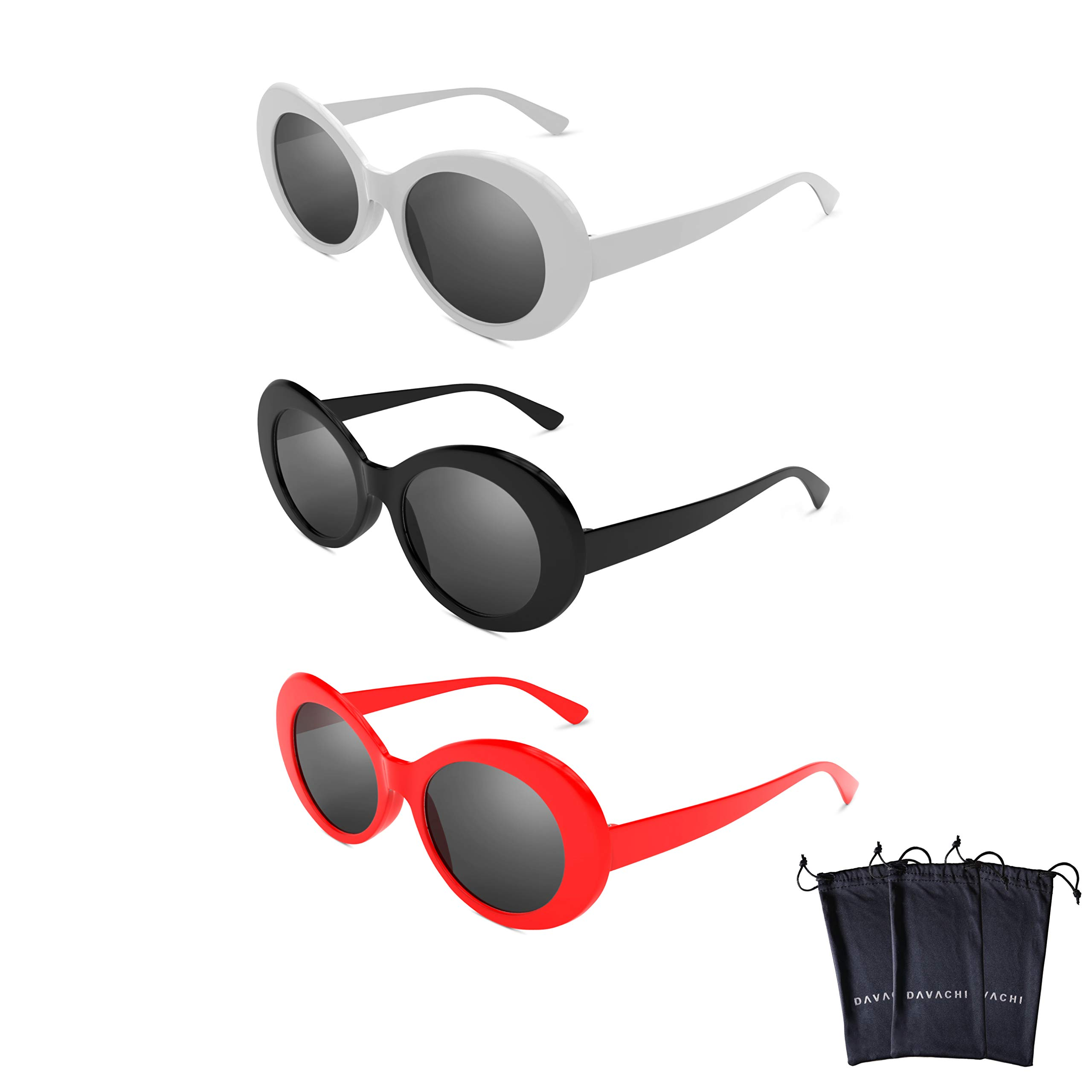 Hype N Clout Clout Goggles Set With Soft Cases- Kurt Cobain Oval Sunglasses White, Black, Red