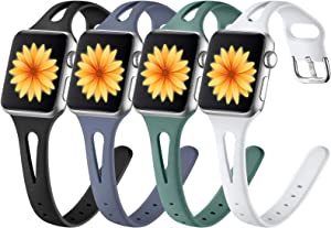 GEAK Slim Band Compatible with Apple Watch 40mm 38mm for Women Men, Narrow Slim Soft Silicone Replacement Accessories Wristband for iWatch SE & Series 6 5 4 3 2 1, Pine Green/Black/White/Bule Gray