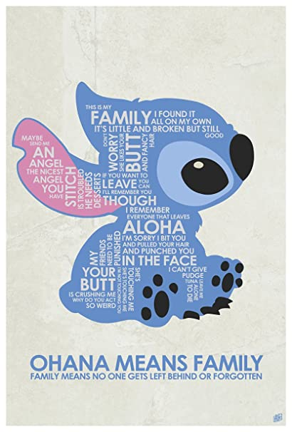 Amazon Com Ohana Means Family Word Art Print Poster 9 X 12 By