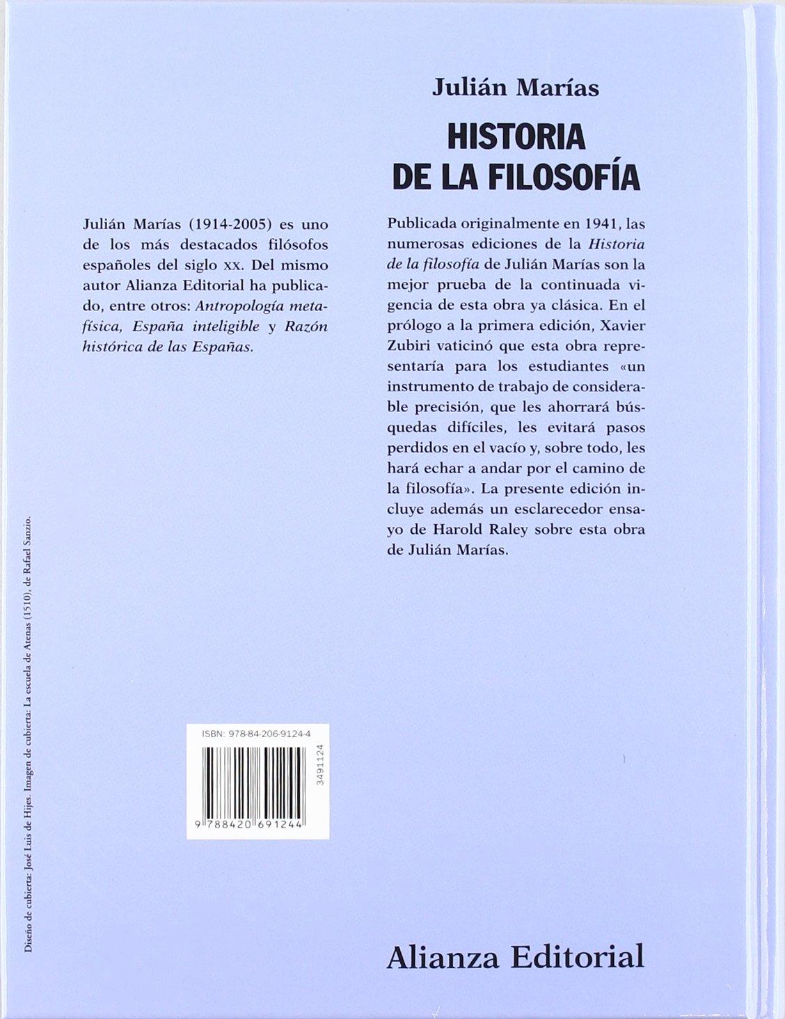 Historia de la filosofía El Libro Universitario - Manuales: Amazon.es: Marías, Julián, Zubiri Apalategui, Xavier, Raley, Harold: Libros