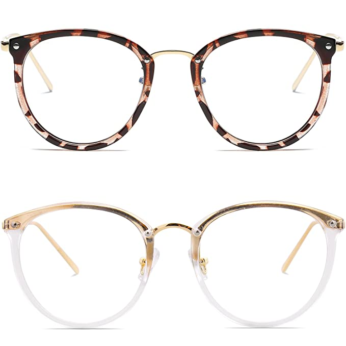 c8362bdeb Amomoma Fashion Round Eyewear Frame Eyeglasses Optical Frame Clear Lens  Glasses Havana Brown+Transparent