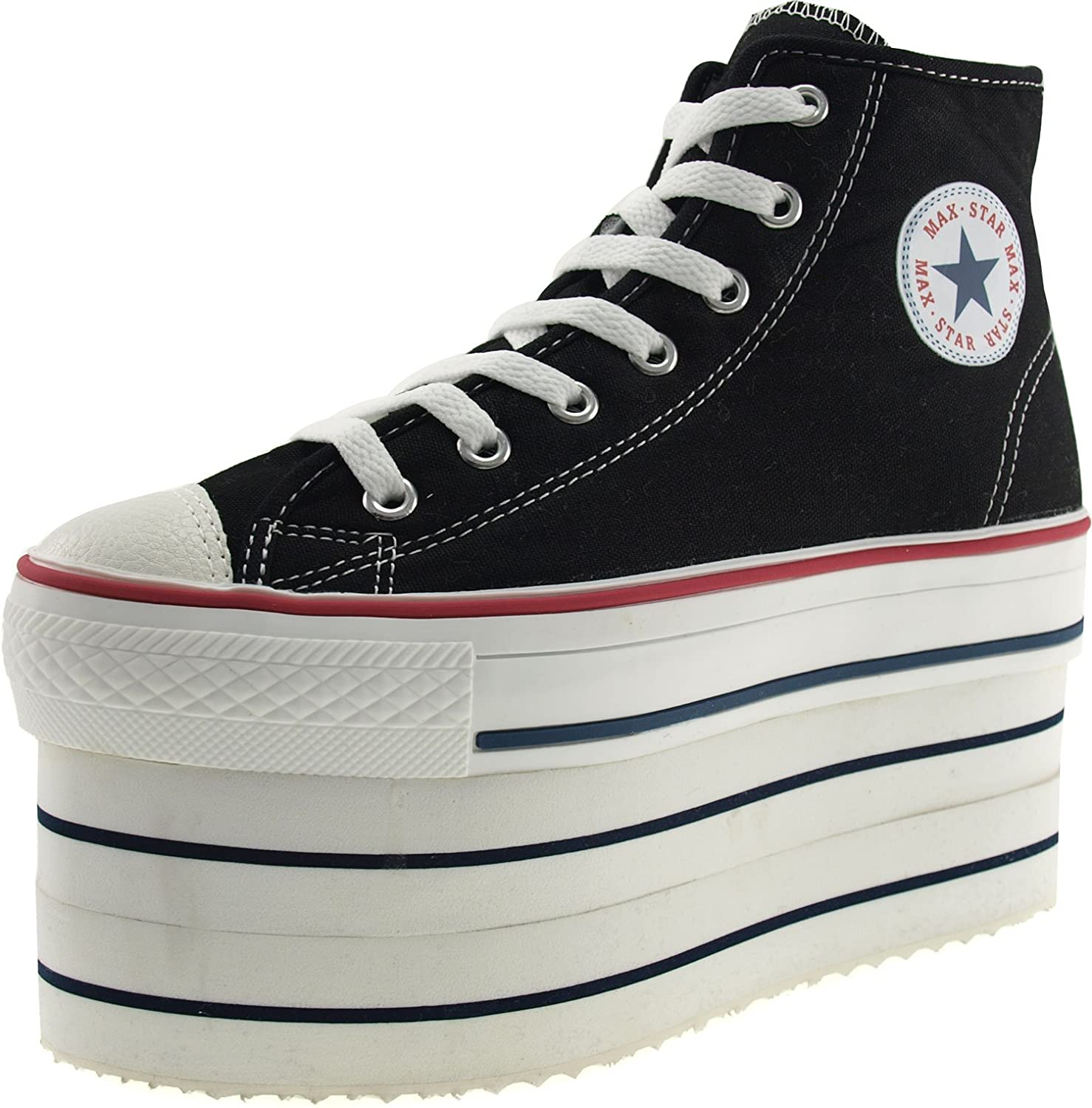 045df96555 Amazon.com | Maxstar Super Double Platform Zipper Canvas Sneakers Shoes |  Fashion Sneakers