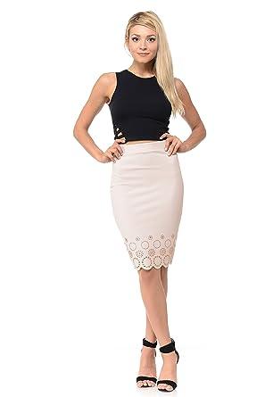 30ab35afd8b7 L I V D Made in USA - Women's Laser Cut Scalloped Midi Pencil Skirt at Amazon  Women's Clothing store: