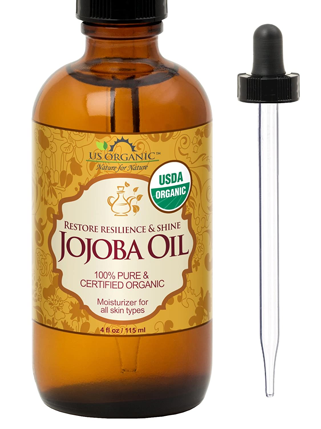 US Organic Jojoba Oil, USDA Certified Organic,100% Pure & Natural, Cold Pressed Virgin, Unrefined, Haxane Free, 4 Ounce in Amber Glass Bottle with Glass Eye Dropper for Easy Application