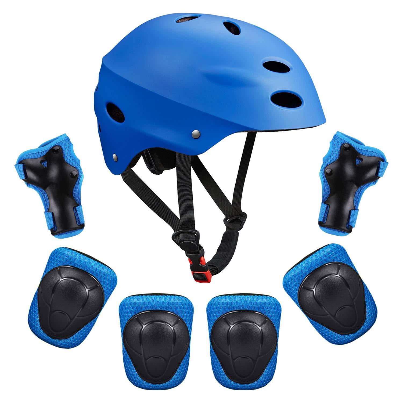 スケートボード保護ギアKids SKLの膝パッド子供用膝と肘パッド手首ガード保護ギアセットfor Biking、乗馬、サイクリング、スポーツマルチ(ヘルメット+膝パッド+ひじパッド+手首パッド)  S(48cm-54cm / 18.9\