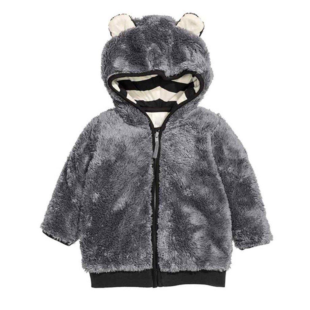 gris 110cm BININBOX® Veste Douce et Chaude en Applique en Velours de Manteau à Capuchon Filles Nouvelle Hiver Enfants