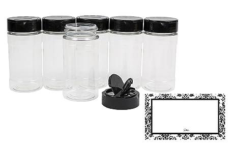 Amazon.com: Plástico Transparente Botellas para especias ...
