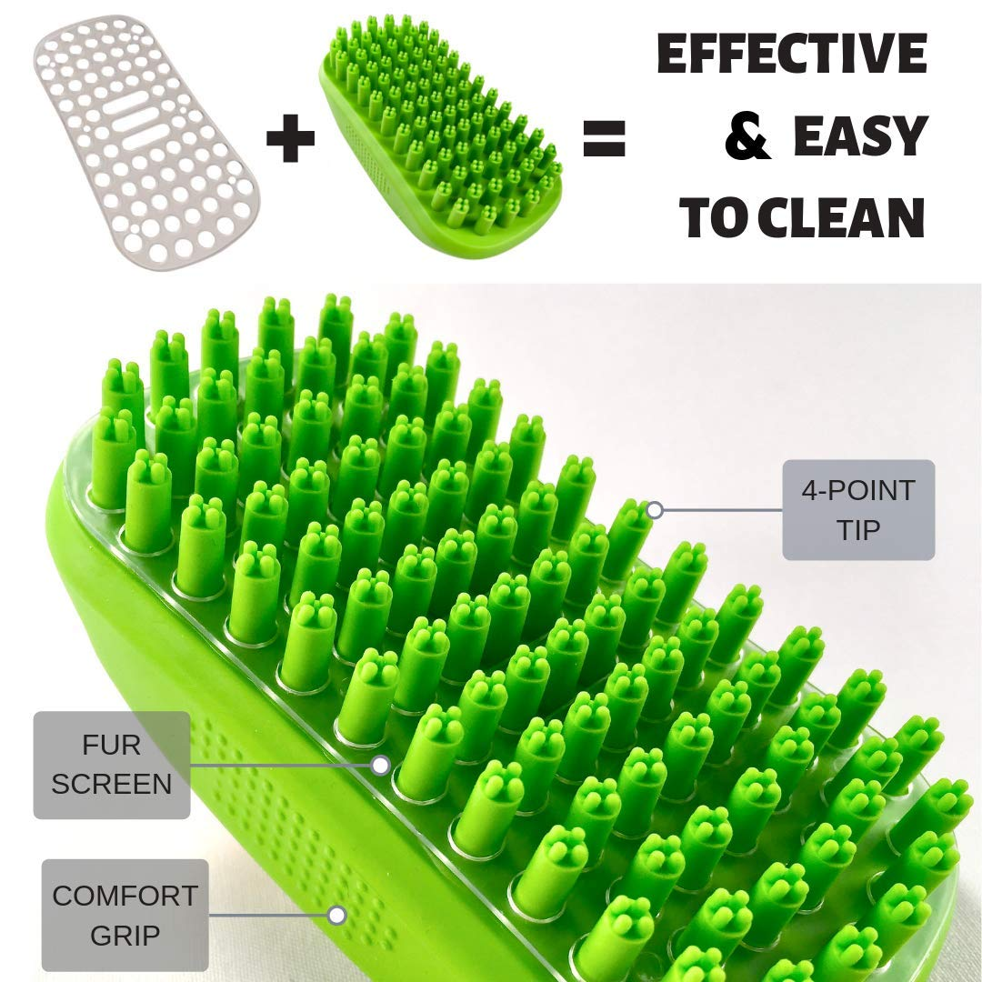 Enjoy Dog Bathing and Dog Grooming Once Again Tank and Sherman Dog Shampoo Rubber Brush Soft 4 Point Bristle Cat and Dog Brush Easy to Clean Dog Bath Brush with Fur Catching Screen