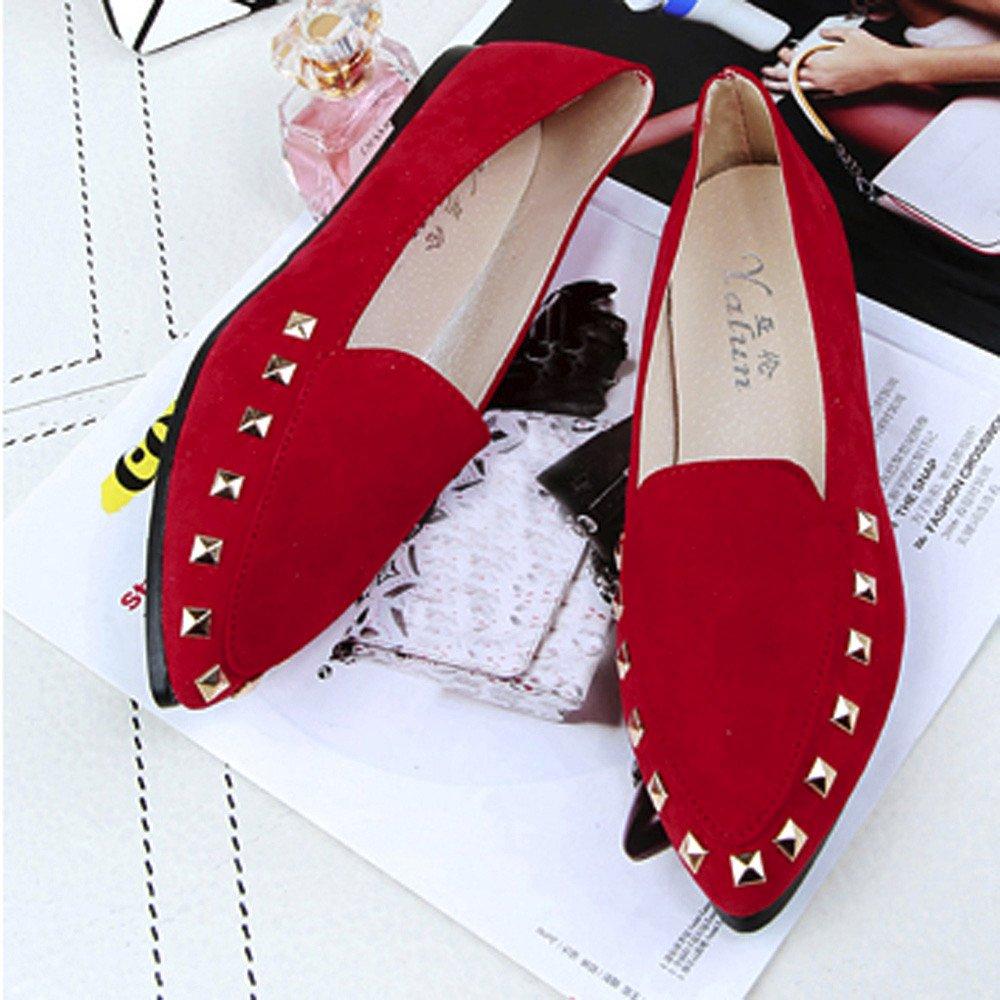 Topgrowth Scarpe da da Barca da Scarpe Donna Flats Rivet Shoes Slip-On Scarpe da Barca Casuale Lavoro Leggero Scarpe rosso d20268