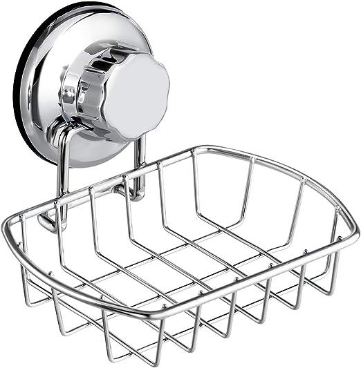 Acero Inoxidable Ventosa Jabonera Pared Holder Basket Baño Fregadero