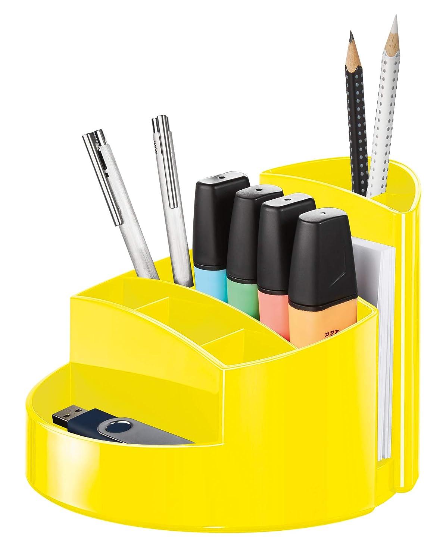 Gelb praktischem Briefschlitz und Gummif/ü/ßen Stabiler Stiftebeh/älter mit 9 F/ächern inkl HAN Schreibtischk/öcher RONDO BxTxH : 14,0 x 14,0 x 10,9 cm
