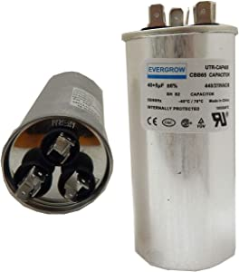 EverGrow 40+5 MFD uf 370 or 440 Volt VAC Round Dual Run Capacitor for Air Conditioner or Heat Pump Condenser - 40/5 Microfarad - Runs AC Motor and Fan (CAP-DUAL -169)