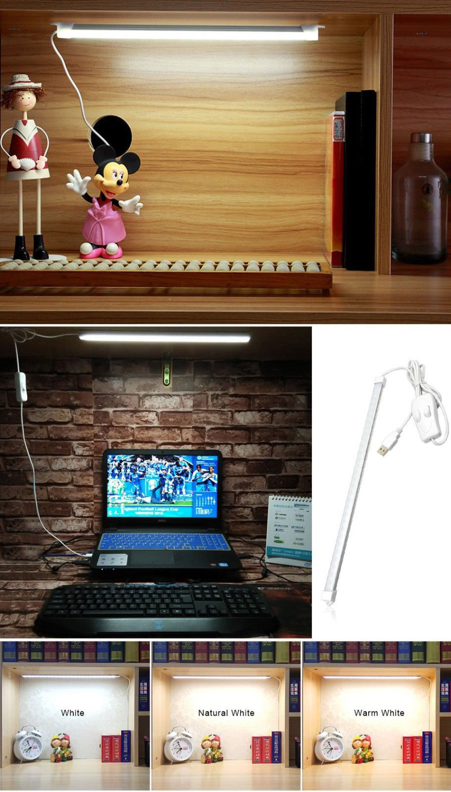 Portable USB 48LED 5W Reading Strips Craft Light Eye-care LED Desk Reading Lamp with Cool and Warm White Color Light Great for Craft Table,Pianos, Reading,led tube bulbs,Work Tables, Music Stands,1PCS