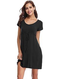 Aibrou Women s Nightdress Loungewear Soft Home T-Shirt Dress V-Neck ... ec7468a1a