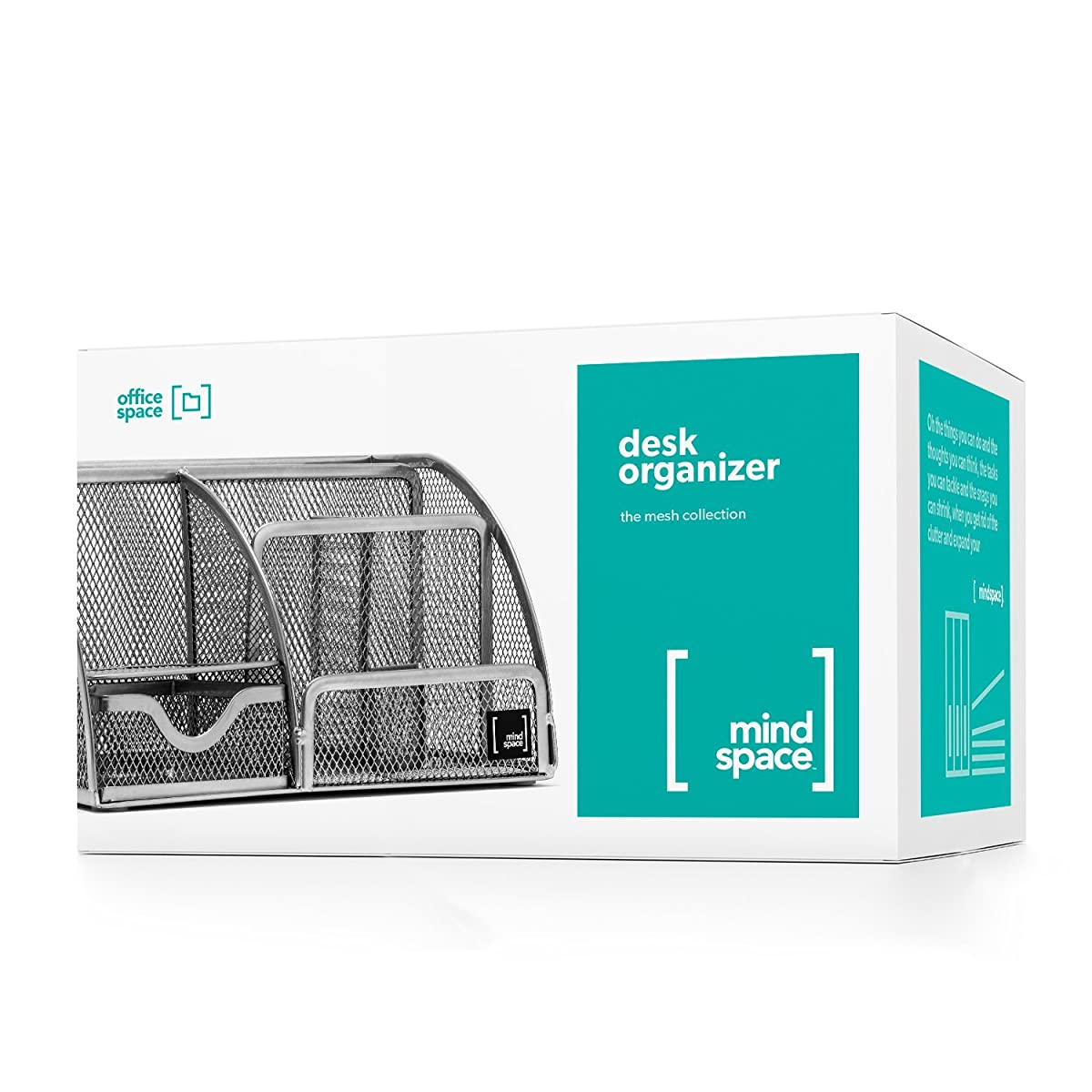 Mindspace Office Desk Organizer with 6 Compartments + Drawer + Pen & Pencil Holder   The Mesh Collection, Silver
