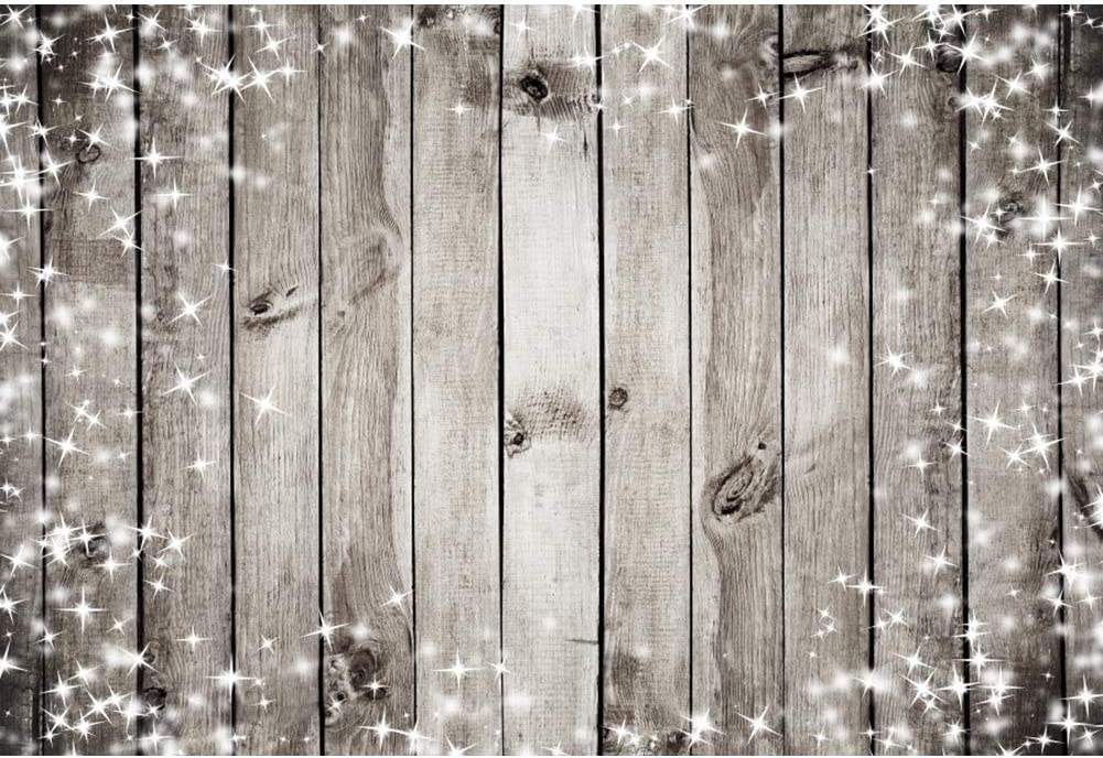 Yeele Grey Wood Backdrop Twinkle Stars Rustic Wood Floor Photography Background Newborn Kids Artistic Portrait 10x8ft Christmas Party Decoration Banner Photoshoot Props Photo Booth Props