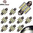 """YITAMOTOR White 31mm(1.25"""") 3528 12-smd 12v Festoon Dome Light LED Bulbs De3175 De3021 De3022 3175(pack of 10) (White)"""