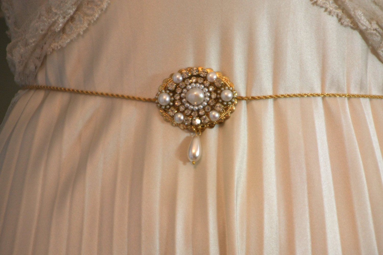Vןintage Bridal Belt Victorian Sash Bridal Sash Golden Genuine Freshwater Pearl Unique Bridal belt Art Deco Rhineston Crystals Vintage Ivory Pearls