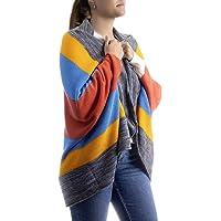 Poncho unitalla franjas de colores gris, amarillo, azul, naranja en acrílico, diseñado y manufacturado por Two Sisters