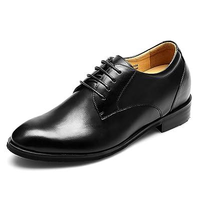 CHAMARIPA Elevador Zapatos para Hombre de Altura Creciente de Cuero Casual con Cordones Zapatos de Boda Oficina - Aumente la Estatura hasta +7.5 cm ...