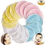 JSBelle 16 Pcs Reusable Makeup Remover Pads, Almohadillas desmaquillantes reutilizables para el rostro con bolsa de lavandería