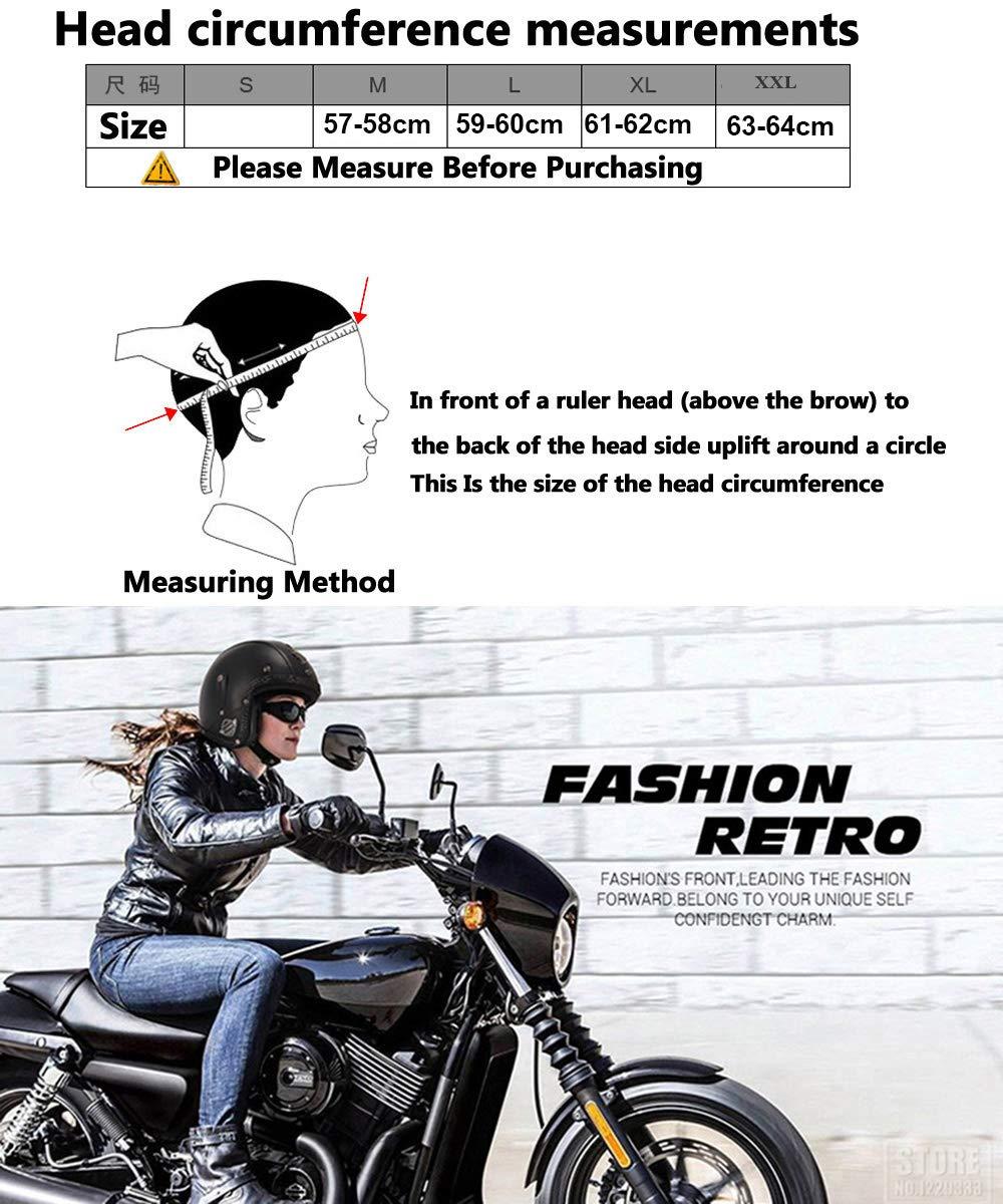 Scooter CARACHOME Casco Moto Vintage Caschi Moto Retro PU in Pelle Casco Donna E Uomo Moto,Casco Moto per Motocross Casco Moto dEpoca Open Face Pendolarismo