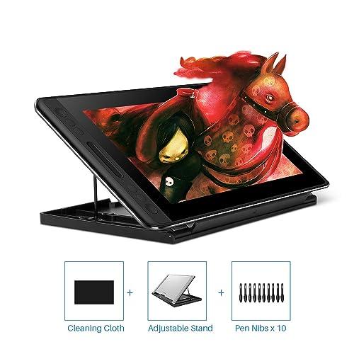 HUION KAMVAS Pro 12 HD 11 6 Tableta con función de inclinación del Monitor Soporte lápiz sin batería con 8192 Niveles de presión y 4 Teclas Express 1 Barra táctil Tableta gráfica con Pantalla