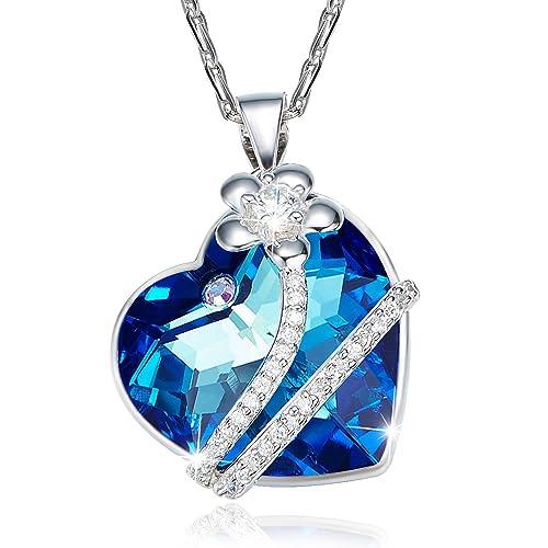 4f670e101fac Aroncent Collar de 925 Plata Esterlina con Colgante de Swarovski Cristal de  Corazón y Flor de