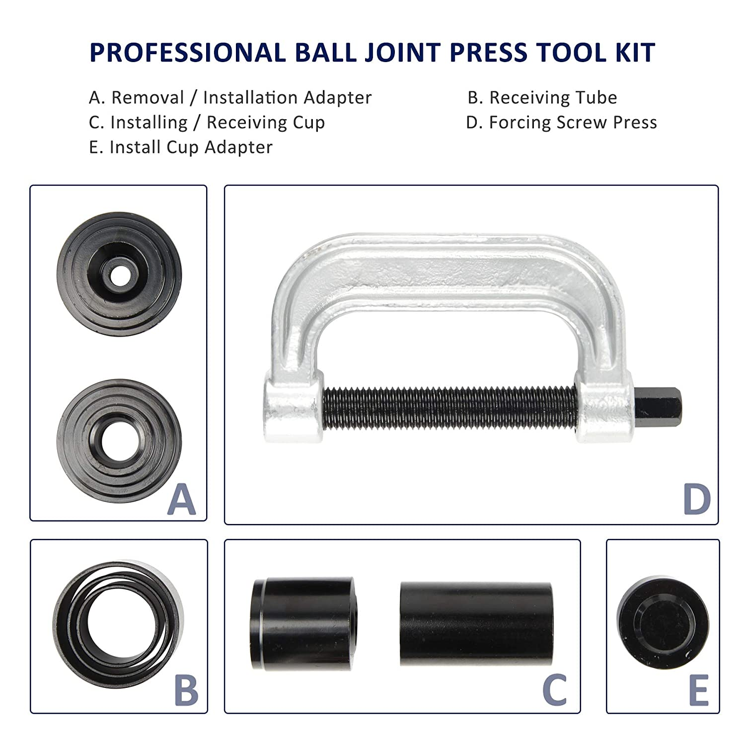 for Most 2WD and 4WD Cars and Light Trucks BK Heavy Duty Ball Joint Press /& U Joint Removal Tool Kit with 4wd Adapters