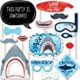 Big Dot of Happiness Shark Zone - Jawsome Shark Viewing Week Party or Birthday Party Photo Booth Props Kit - 20 Count
