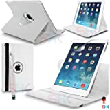 Apple iPad Air 360 Degree Rotating White Smart Premium Leather Flip Wallet Stand Case Cover With Auto Sleep Wake Compatibility Big Touch Stylus Pen Screen Protector & Polishing Cloth + 2 IN 1 RED Dust Stopper SVL6875 BY SHUKAN®, (PLAIN WHITE)