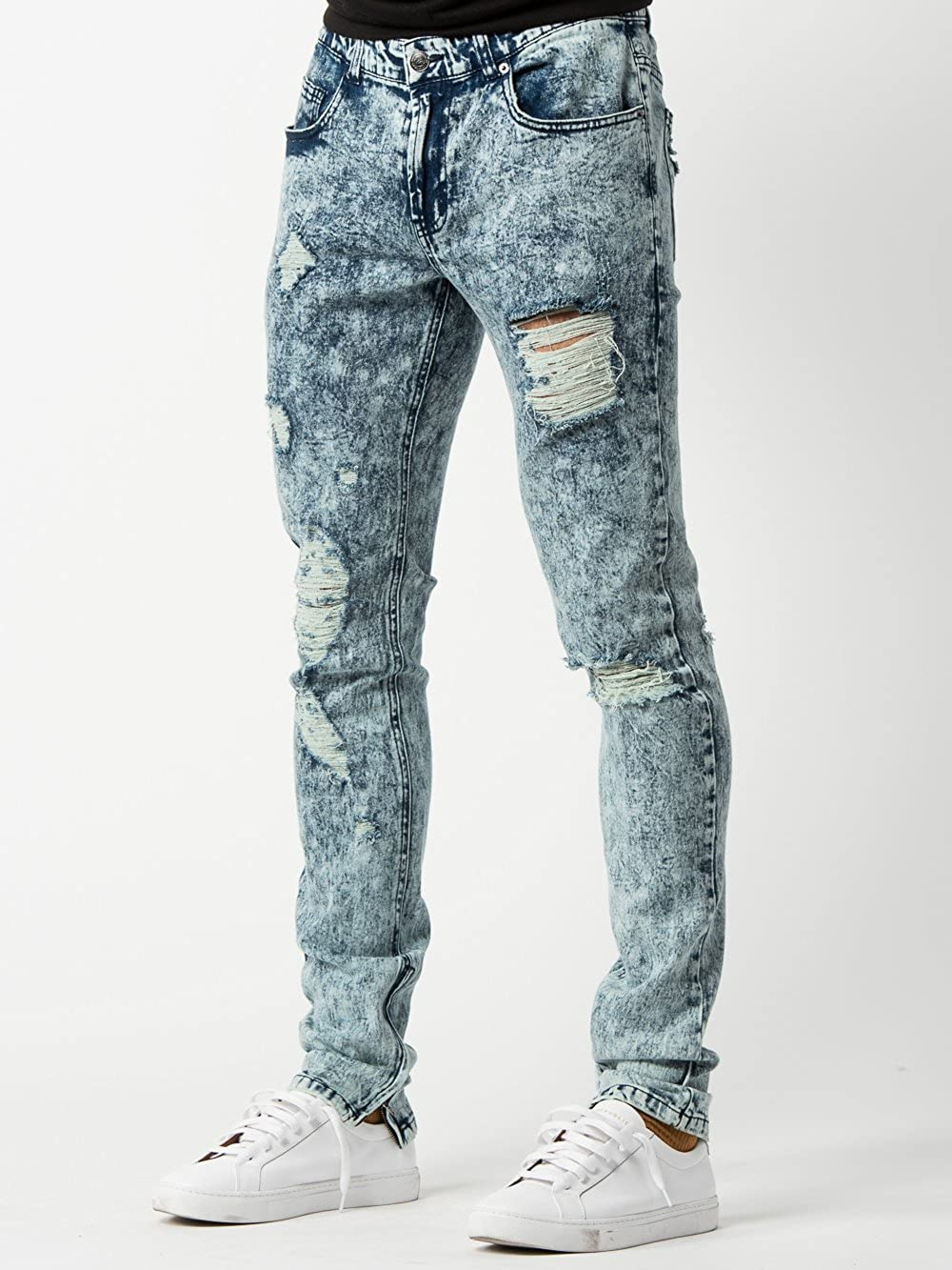 6247d6699 Amazon.com: Young and Reckless - Roland Tapered Jeans - Acid Blue Bleach -  - Mens - Bottoms - Denim -: Clothing