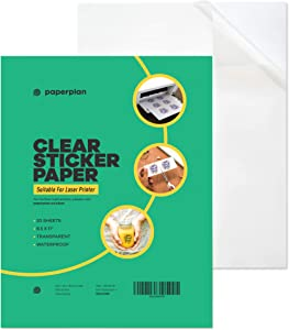 Clear Sticker Paper for Laser Printer 8.5 x 11 (20 Sheets) - Printable Sheets Matte - DIY Personalized Stickers for Murals, Decals, Labels - Durable, Weatherproof - Self Adhesive // Paper Plan