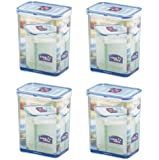 (Pack of 4) LOCK & LOCK Airtight Rectangular Tall Food Storage Container 60.87-oz/7.61-cup