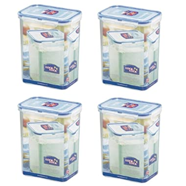 (Pack of 4) LOCK & LOCK Airtight Rectangular Tall Food Storage Container 60.87-oz / 7.61-cup