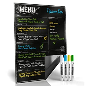 "Magnetic Menu Board for Kitchen Fridge with Bright Chalk Markers - 17X12"" - Dry Erase Weekly Meal Planner and Grocery List Notepad for Refrigerator - Perfect Chalkboard Magnet Pad"