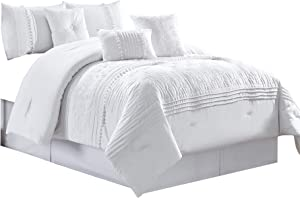 Chezmoi Collection Grace 6-Piece White Floral Chenille Embroidered Pleated Striped Comforter Set, Twin