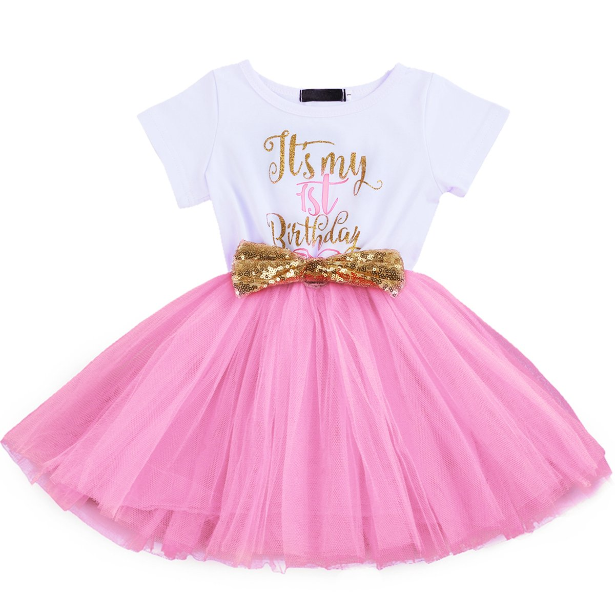 OBEEII First Second Birthday Baby Girl Tutu Dress Princess Sequin Bowknot Photo Prop